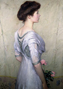 Youthful Metal Prints - The Pink Rose Metal Print by Lilla Cabot Perry