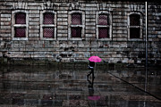 Portugal Prints - The pink umbrella Print by Jorge Maia