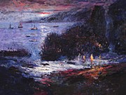 Pirate Ships Paintings - The pirates make home port by R W Goetting