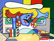 Cubism Framed Prints - The Pizza Guy Framed Print by Anthony Falbo