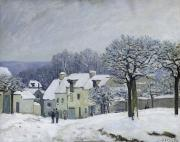 Snow Scene Landscape Framed Prints - The Place du Chenil at Marly le Roi Framed Print by Alfred Sisley