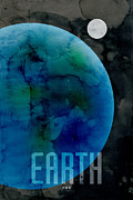 Outer Space Digital Art Metal Prints - The Planet Earth Metal Print by Michael Tompsett