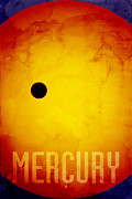 Planet Digital Art Posters - The Planet Mercury Poster by Michael Tompsett