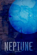 Solar System Posters - The Planet Neptune Poster by Michael Tompsett