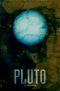 Planet Digital Art Posters - The Planet Pluto Poster by Michael Tompsett
