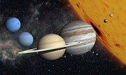 Large Scale Digital Art Prints - The Planets And Larger Moons To Scale Print by Ron Miller