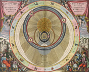Heavenly Body Prints - The Planisphere of Brahe Harmonia Macrocosmica in 1660 Print by Science Source