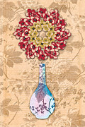 Floral Still Life Mixed Media Prints - The Platonic Ideal Vase Number Four Print by Yolanda Fundora
