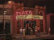 City At Night Paintings - The Plaza by Tom Shropshire