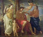 Allegories Metal Prints - The Poets Inspiration Metal Print by Nicolas Poussin