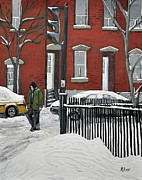 Montreal Winter Scenes Prints - The Point Print by Reb Frost