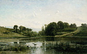 Heron Framed Prints - The pond at Gylieu Framed Print by Charles Francois Daubigny
