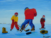 Hockey Games Posters - The Pond Hockey Game Poster by Anthony Dunphy