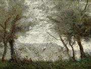 Ponds Paintings - The Pond by Jean Baptiste Corot