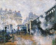 1877 Posters - The Pont de lEurope Gare Saint Lazare Poster by Claude Monet