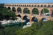 Old Ruins Framed Prints - The Pont du Gard Framed Print by Sami Sarkis