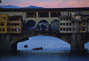 River Scenes Posters - The Ponte Vecchio At Dusk Poster by O. Louis Mazzatenta