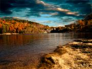 River. Clouds Posters - The Pool Below Upper Falls Rumford Maine Poster by Bob Orsillo