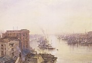 Sailboat Prints - The Pool from the Adelaide Hotel London Bridge Print by William Wyld