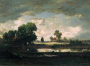 Mare Paintings - The Pool with a Stormy Sky by Pierre Etienne Theodore Rousseau