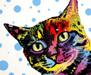 Mammals Mixed Media Posters - The Pop Cat Poster by Dean Russo