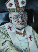 Catholic Pastels Prints - The Pope of Village Earth Print by Bleu Butler