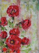 Green Reliefs Posters - The Poppies Poster by Tatiana Ilieva