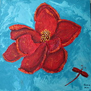Pallet Knife Painting Originals - The Poppy and the Dragonfly by Susan McLean Gray