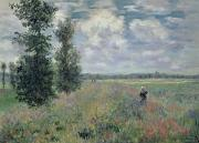 Country Posters - The Poppy Field Poster by Claude Monet