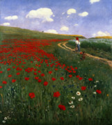 Country Side Framed Prints - The Poppy Field Framed Print by Pal Szinyei Merse