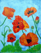 Anke Wheeler Paintings - The Poppy Patch by Anke Wheeler
