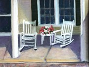 White House Pastels Framed Prints - The Porch Framed Print by Kathleen Hartman