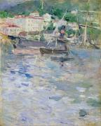 Boat On Beach Paintings - The Port at Nice by Berthe Morisot