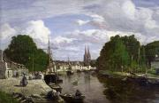Reflecting Trees Paintings - The Port at Quimper by Eugene Louis Boudin