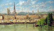 River Scenes Posters - The Port at Rouen Poster by Torello Ancillotti