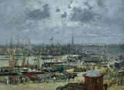 Vista Paintings - The Port of Bordeaux by Eugene Louis Boudin