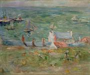 Rooftops Paintings - The Port of Gorey on Jersey by Berthe Morisot