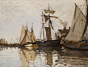 Sailboats Paintings - The Port of Honfleur by Claude Monet