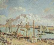 Sailboat Ocean Framed Prints - The Port of Le Havre in the Afternoon Sun Framed Print by Camille Pissarro