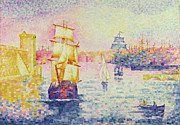 Sailboats At The Dock Painting Framed Prints - The Port of Marseilles Framed Print by Henri-Edmond Cross