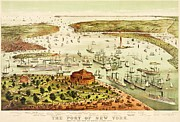 Reproduction Drawings Framed Prints - The Port Of New York Harbor Framed Print by Pg Reproductions