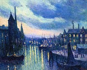 Barge Posters - The Port of Rotterdam at Night Poster by Maximilien Luce