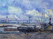 Crane Painting Framed Prints - The Port of Rouen Framed Print by Albert Charles Lebourg