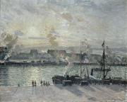 Sunset Prints - The Port Of Rouen Print by Camille Pissarro