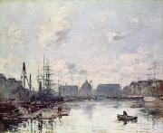 Fishing Paintings - The Port of Trade by Eugene Louis Boudin