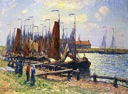 Sailboat Ocean Framed Prints - The Port of Volendam Framed Print by Henry Moret