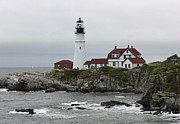 Portland Lighthouse Framed Prints - The Portland Light Framed Print by Suzanne Gaff
