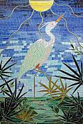 Egret Glass Art - The Pose by Marie Groves