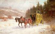 Winter Scenes Rural Scenes Prints - The Post Coach in the Snow Print by Fritz van der Venne