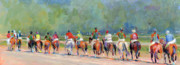 Thoroughbred Race Paintings - The Post Parade by Kimberly Santini